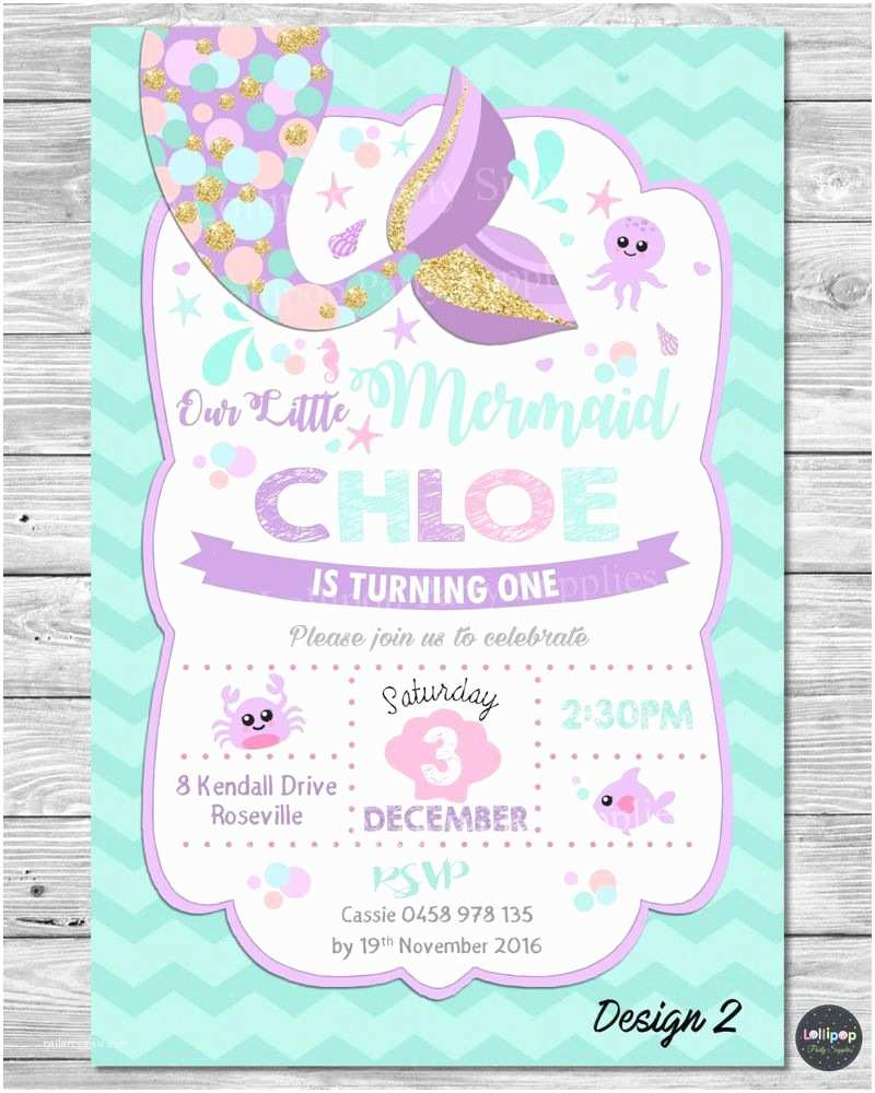 Little Mermaid Party Invitations Little Mermaid Invitations Invite 1st First Birthday Party