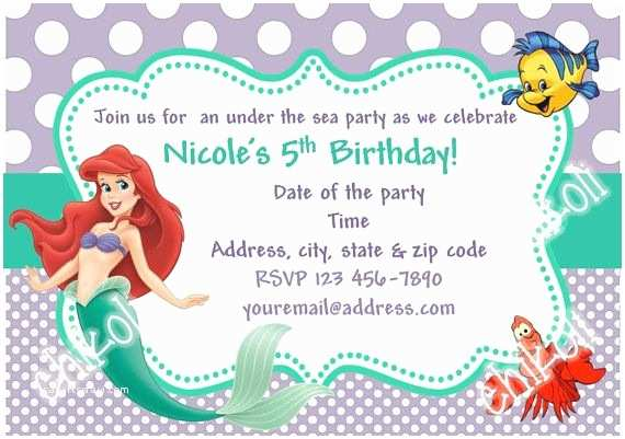 Little Mermaid Party Invitations Little Mermaid Party Invitations Ariel Birthday Party by