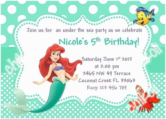 Little Mermaid Party Invitations Little Mermaid Party Invitations Ariel Birthday Party