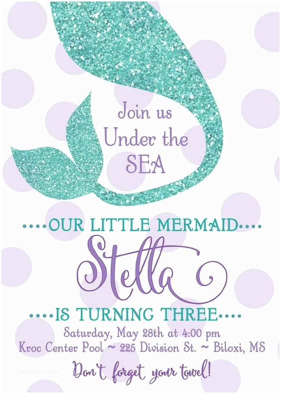 "Little Mermaid Party Invitations Mermaid Birthday Party Invitation ""under the Sea"