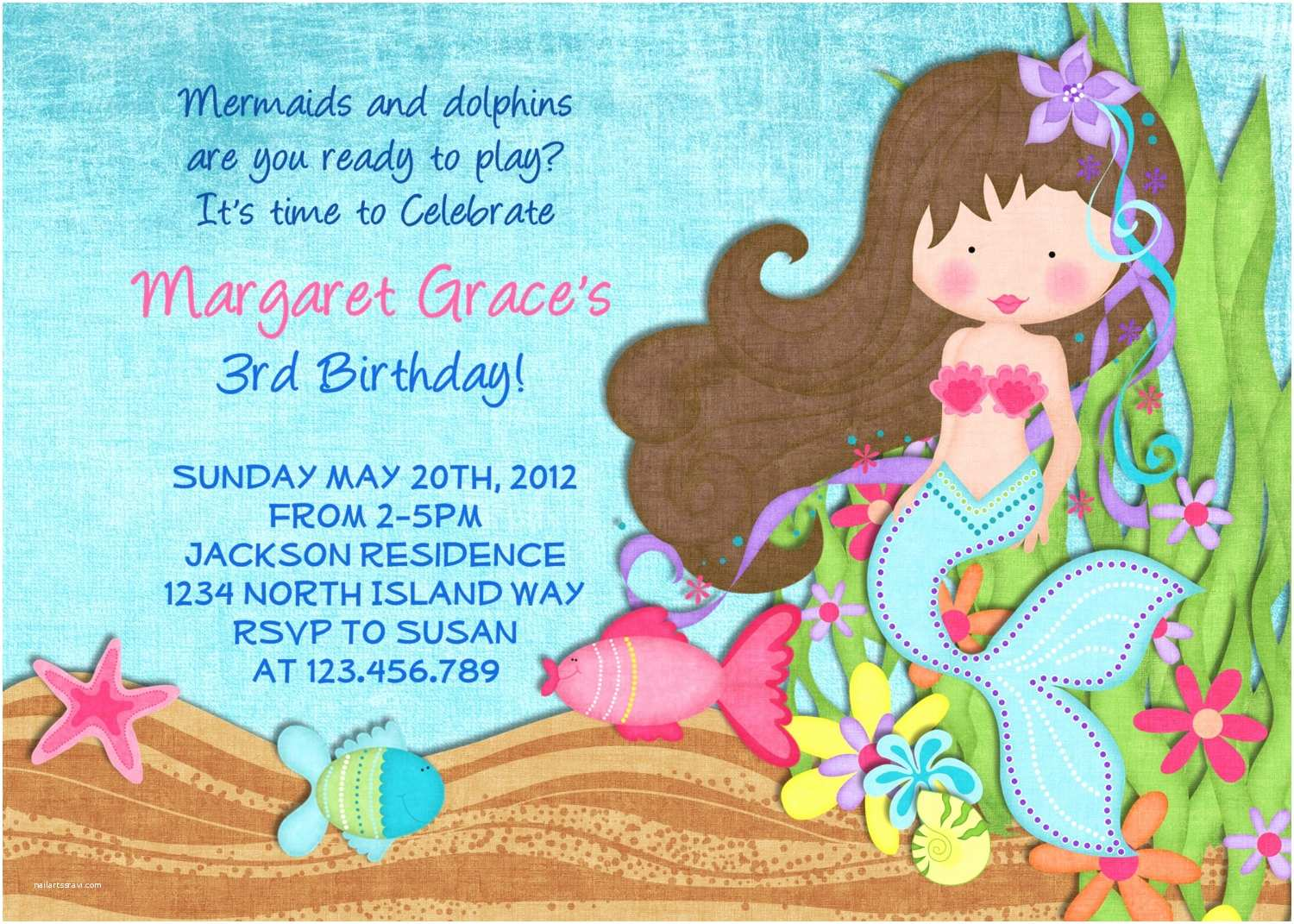 Little Mermaid Party Invitations Mermaid Invitation Mermaid Party Under the Sea Mermaid