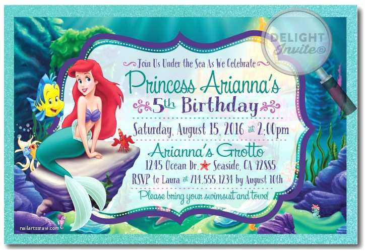 Little Mermaid Party Invitations Princess Ariel Little Mermaid Birthday Invitations [di 282