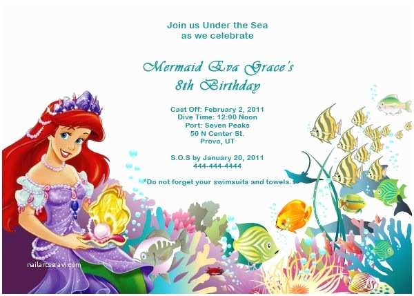 Little Mermaid Party Invitations the Little Mermaid Birthday Invitations