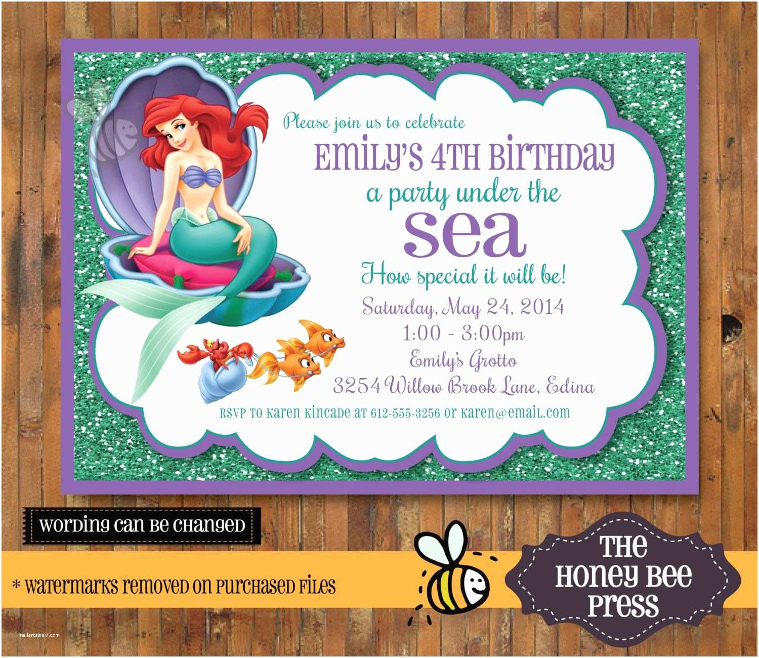 Little Mermaid Party Invitations Under the Sea Invitation Little Mermaid Under the Sea