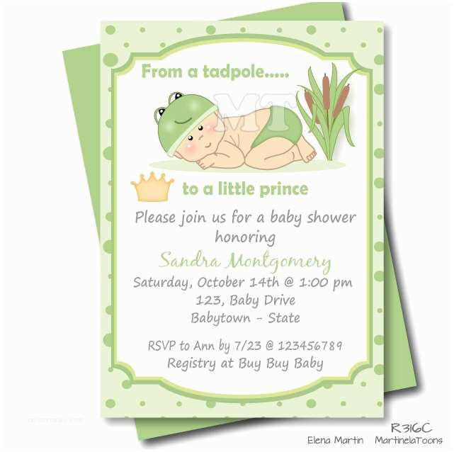 Little Prince Baby Shower Invitations Frog Prince Baby Shower Invitation Green Little Prince Baby