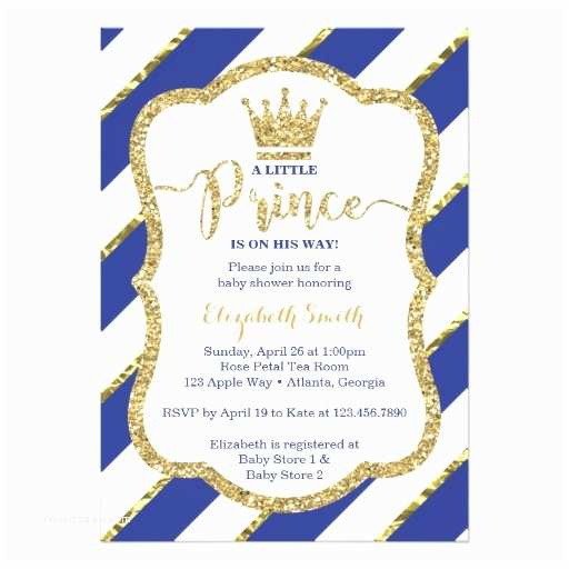 Little Prince Baby Shower Invitations Little Prince Baby Shower Invitation Blue Gold Card