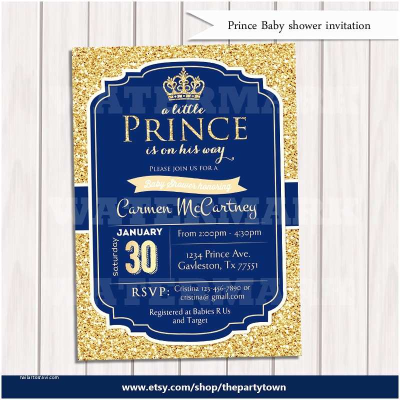 Little Prince Baby Shower Invitations Prince Baby Shower Invitation Royal Blue Gold Baby Shower