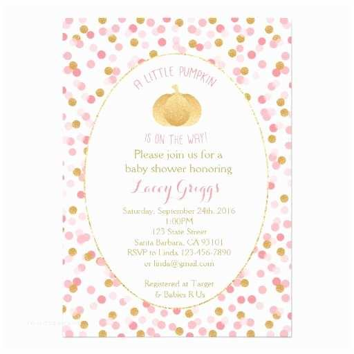 Little Pumpkin Baby Shower Invitations Little Pumpkin Baby Shower Invitation Pink Gold Card