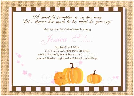Little Pumpkin Baby Shower Invitations Little Pumpkin Baby Shower Invitations