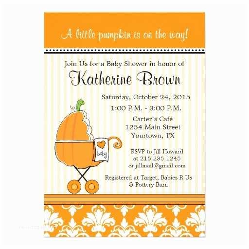 Little Pumpkin Baby Shower Invitations Little Pumpkin Baby Shower Party Invitation