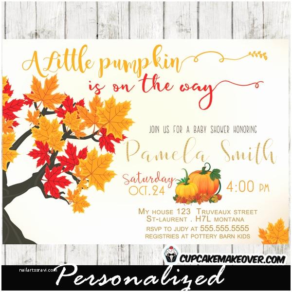 Little Pumpkin Baby Shower Invitations Little Pumpkin Fall themed Baby Shower Invitation