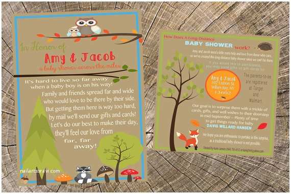Long Distance Baby Shower Invitations Baby Boy Long Distance Baby Shower 5x7 Invitation and 5x5