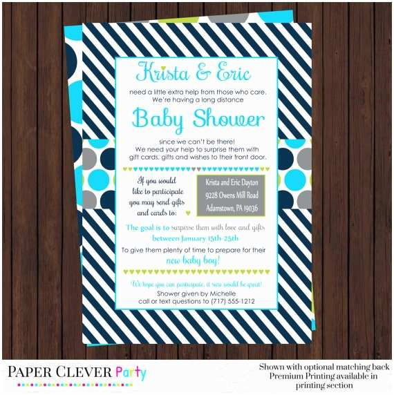 Long Distance Baby Shower Invitations Baby Boy Long Distance Shower Invitations Classic Navy