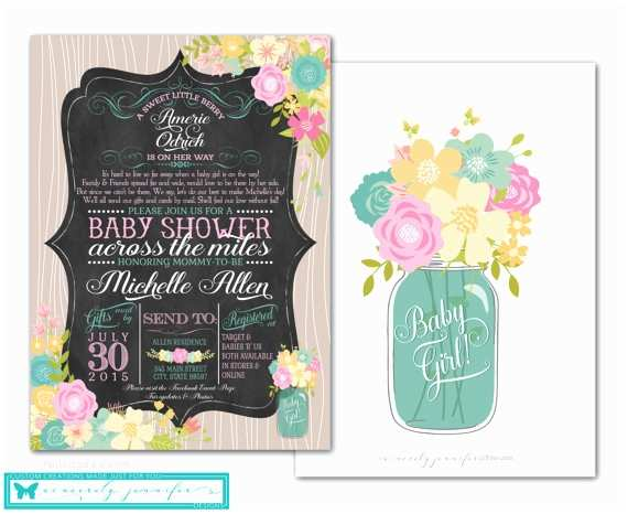 Long Distance Baby Shower Invitations Items Similar to Long Distance Baby Shower Invitation