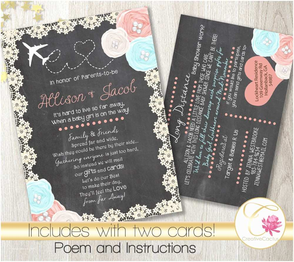 Long Distance Baby Shower Invitations Long Distance Baby or Bridal Shower Invitation Printable