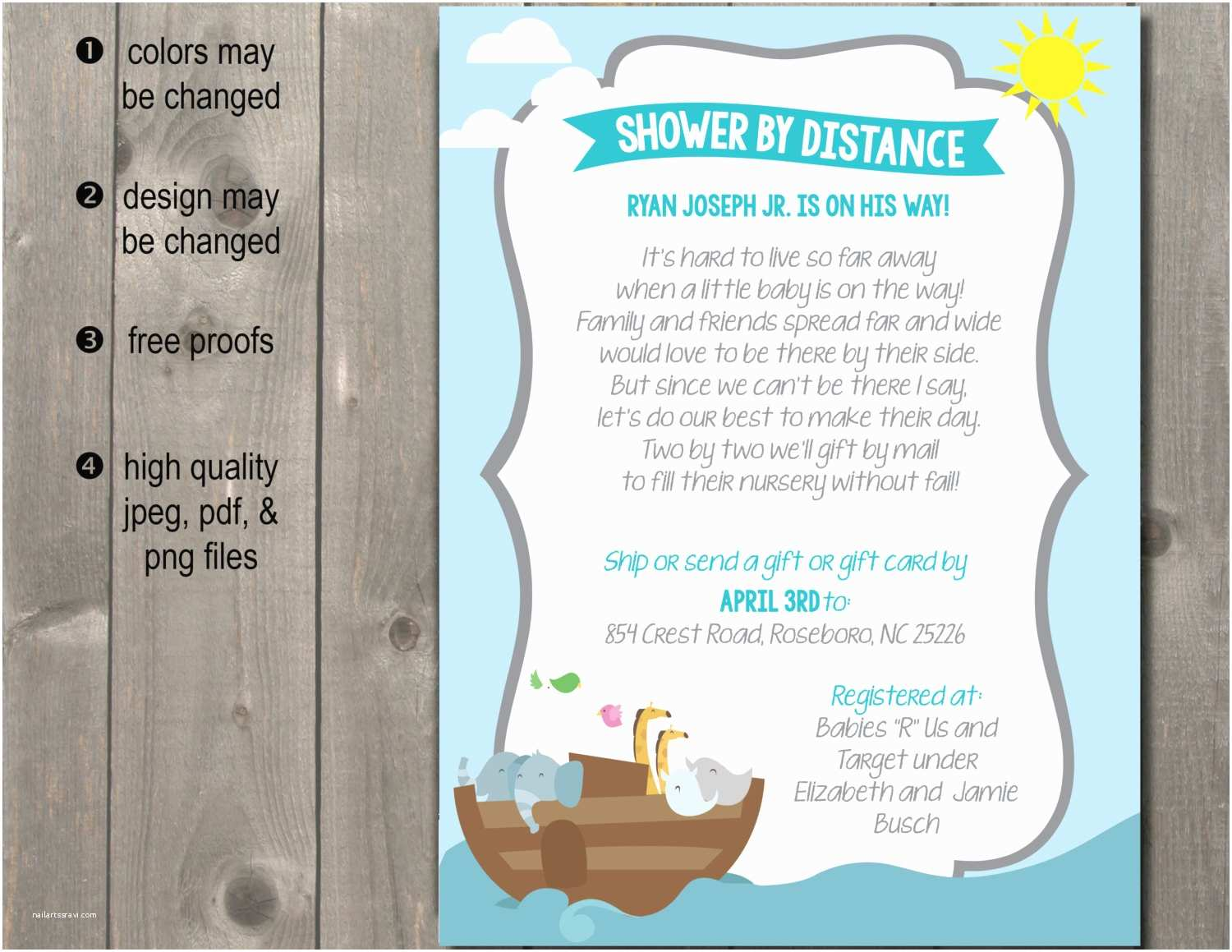 Long Distance Baby Shower Invitations Long Distance Baby Shower Invitation Announcement Shower by