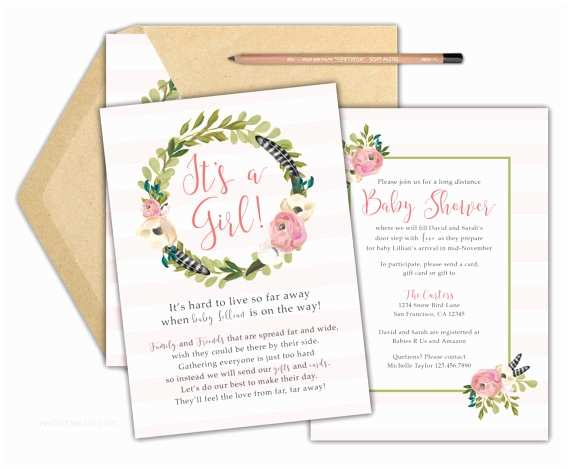 Long Distance Baby Shower Invitations Long Distance Baby Shower Invitation Diy Printable Baby