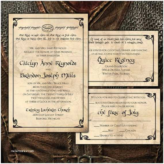 Lord Of the Rings Wedding Invitations Custom E Ring Lord Of the Rings Inspired Wedding