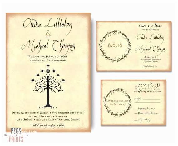 geek wedding invitation set lord of the