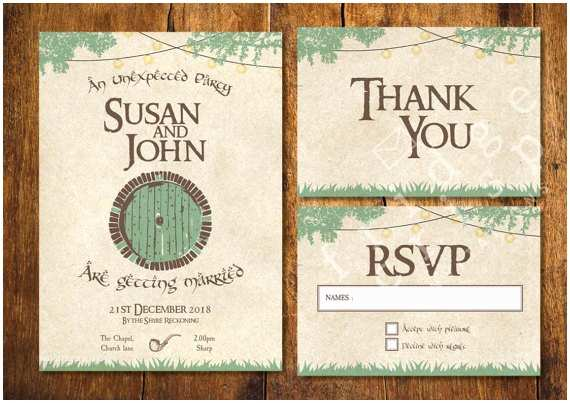 Lord Of the Rings Wedding Invitations Hobbit Style Wedding Invitation Wedding Lord Of the Rings