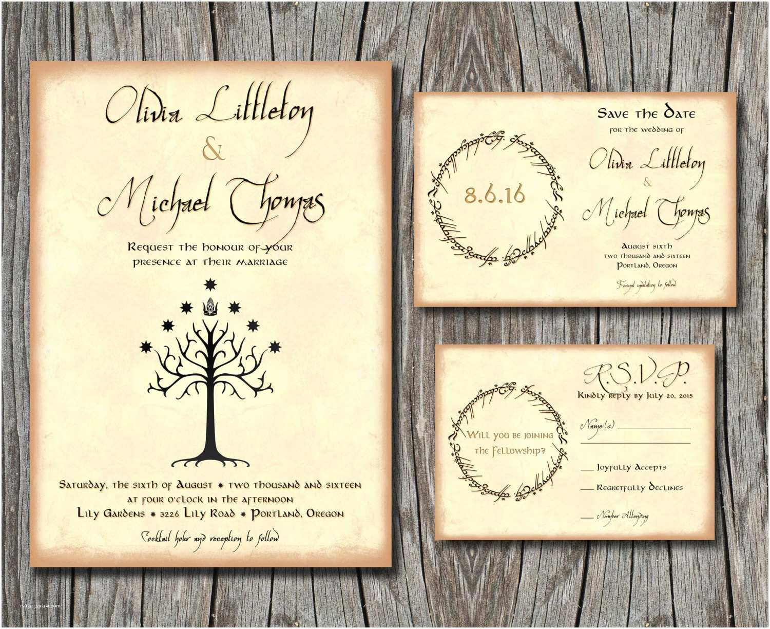 Lord Of the Rings Wedding Invitations Lord Of the Rings Wedding Invitation Set Save the by