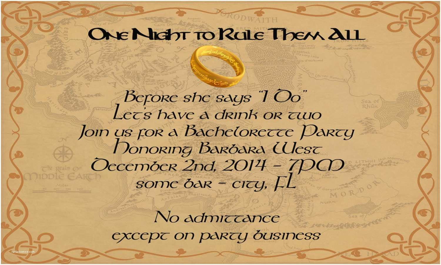 Lord Of the Rings Wedding Invitations Lord Of the Rings Wedding Invitations Part E