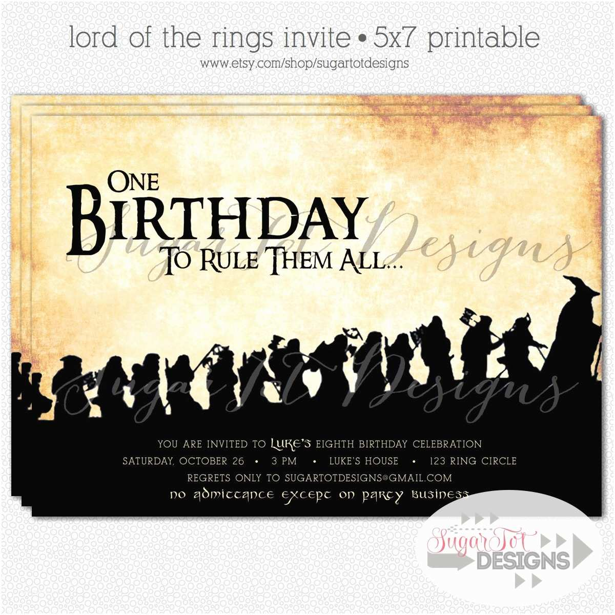 Lord Of the Rings Wedding Invitations Lord the Rings themed Wedding Invitations