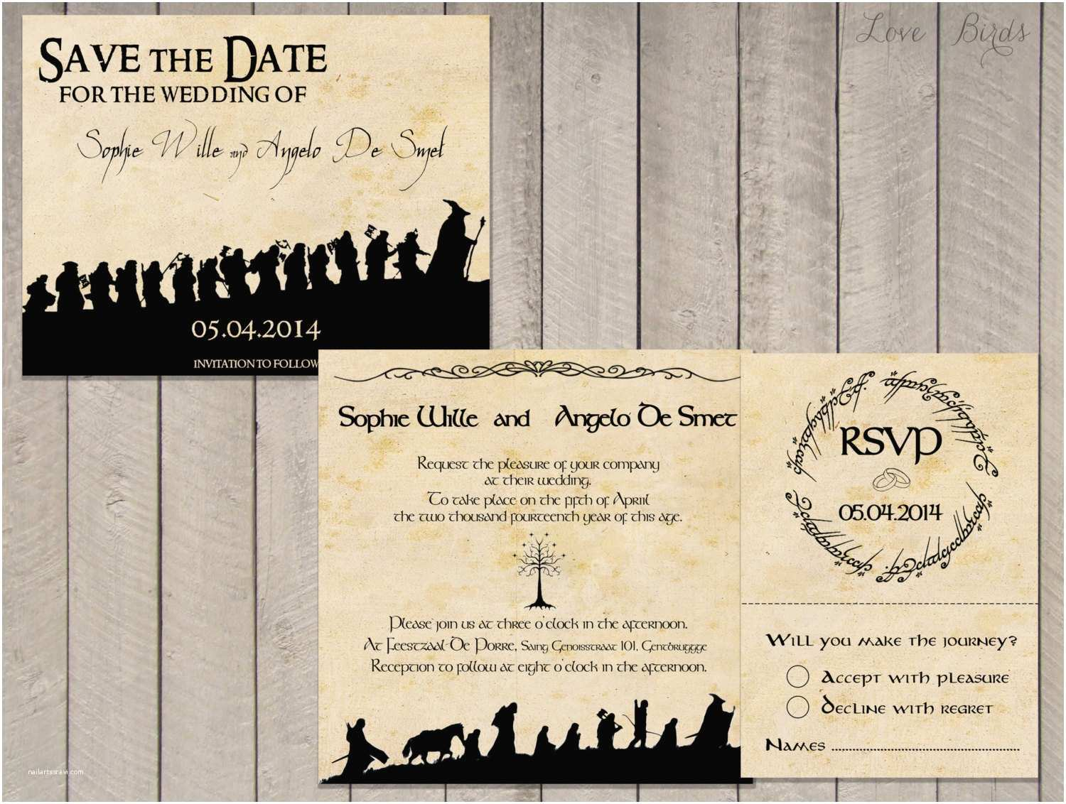 Lord Of the Rings Wedding Invitations Wedding Invitation Set Lord Of the Rings Save the Date