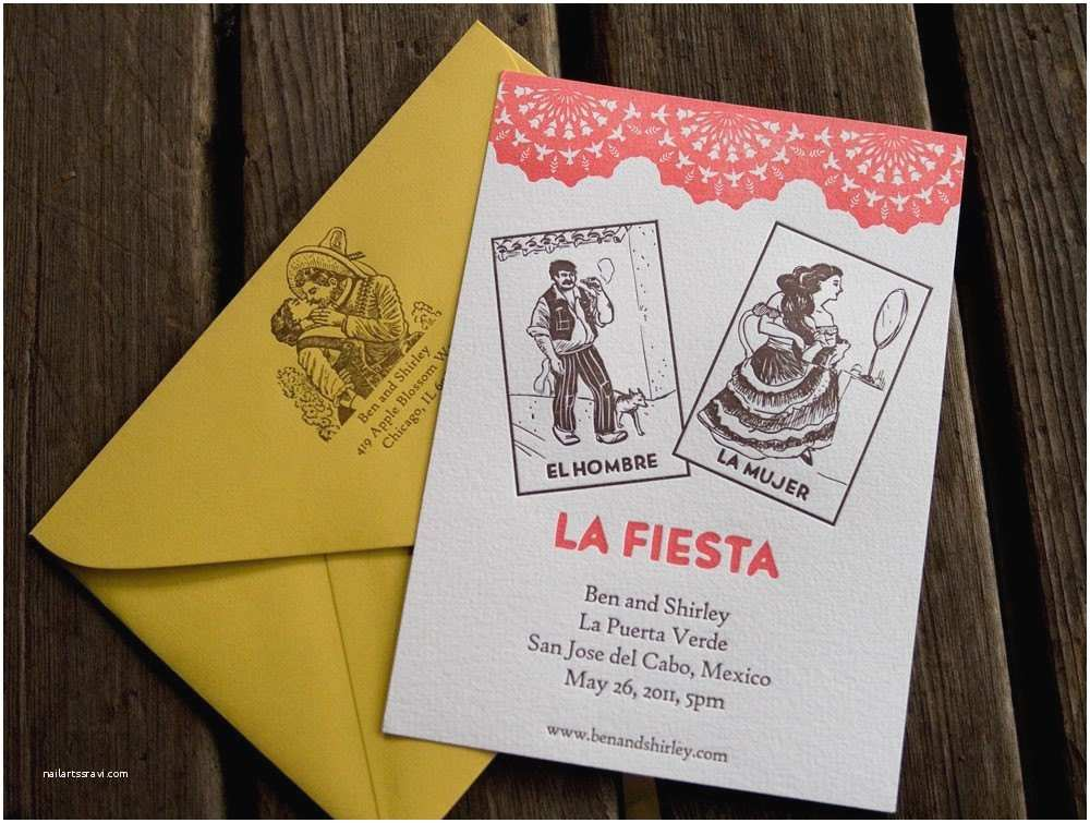 Loteria Wedding Invitations Deposit for Mexican Loteria Letterpressed Wedding Invitations