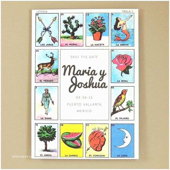 Loteria Wedding Invitations Maria Suite Mexican Loteria Save the Date Announcement