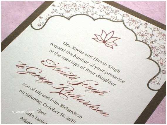 Lotus Wedding Invitations Elegant Indian Wedding Invitation Lotus Floral Sample Red