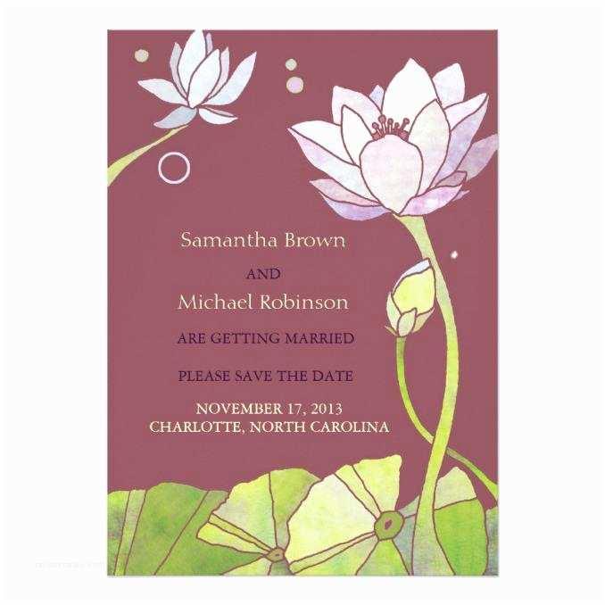 Lotus Wedding Invitations Elegant Lotus Wedding Save the Date Invitations Wedding