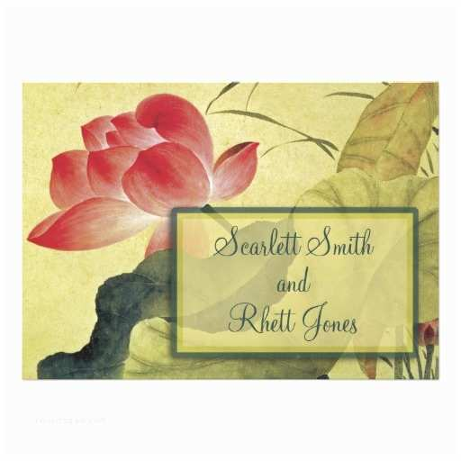 "Lotus Wedding Invitations Lotus Blossom Wedding Invitation 5"" X 7"" Invitation Card"