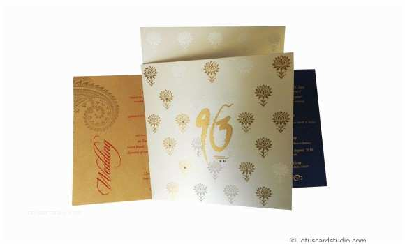 wedding invitation card in lotus theme wc109