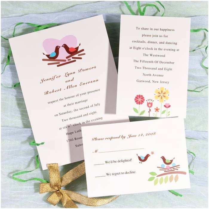 Love Bird Wedding Invitations Modern Love Birds with Heart Printable Wedding Invitations