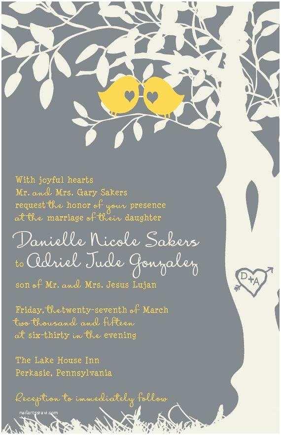 Love Bird Wedding Invitations Rush Love Bird Wedding Invitations Yellow and Gray Tree