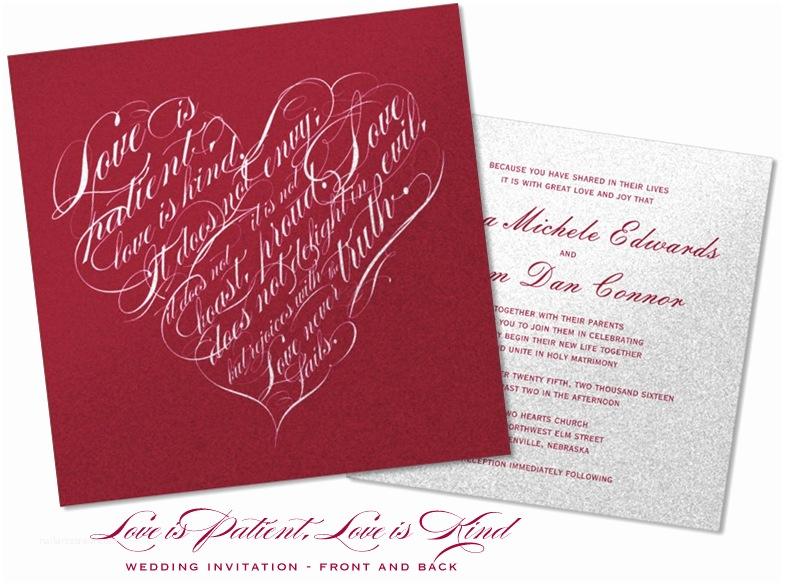 """Love is Patient Love is Kind Wedding Invitations """"love is Patient Love is Kind"""" Wedding Invitations"""