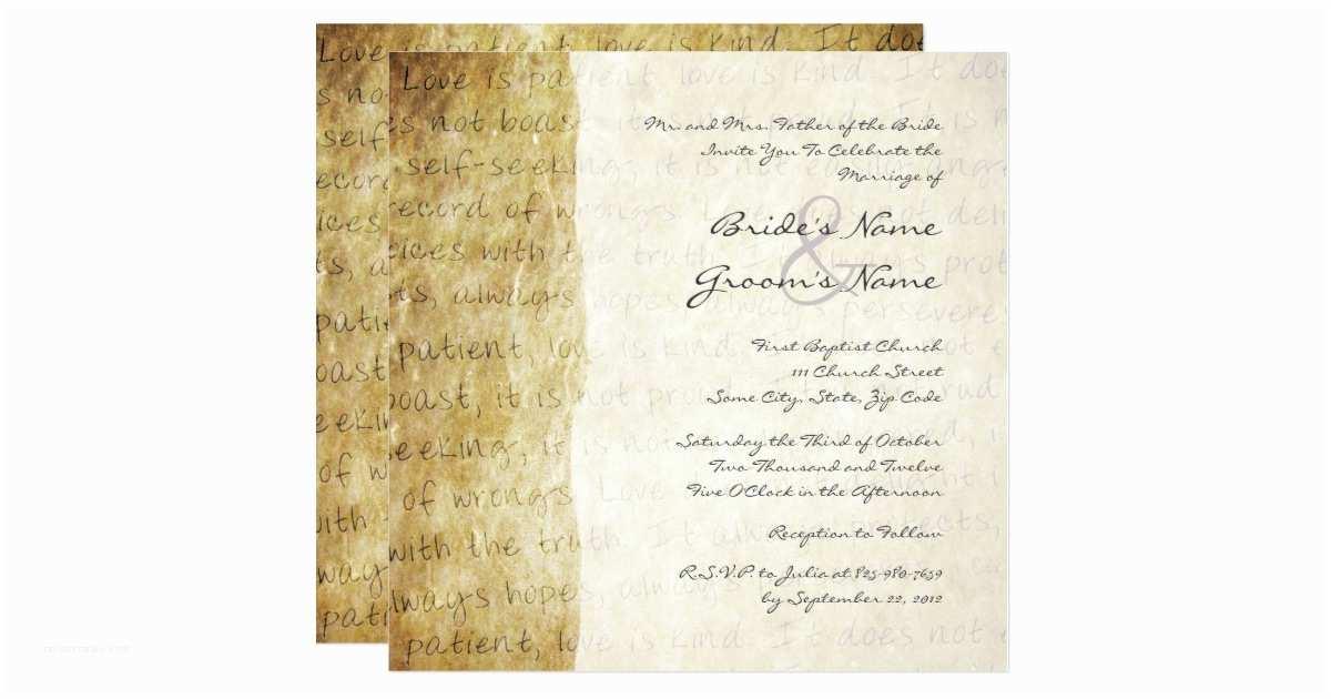 Love is Patient Love is Kind Wedding Invitations Love is Patient Vintage Wedding Invitation