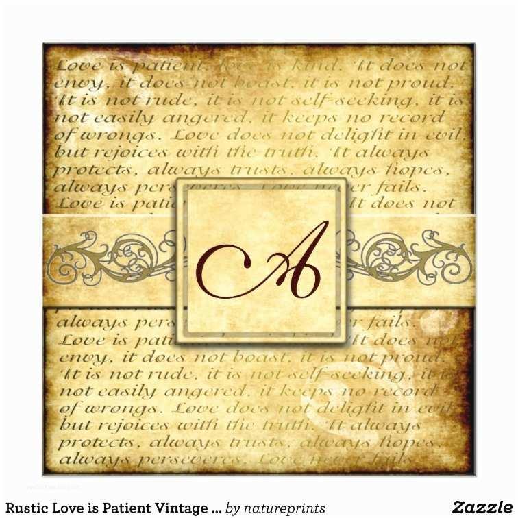 Love is Patient Love is Kind Wedding Invitations Rustic Love is Patient Vintage Wedding Invitations