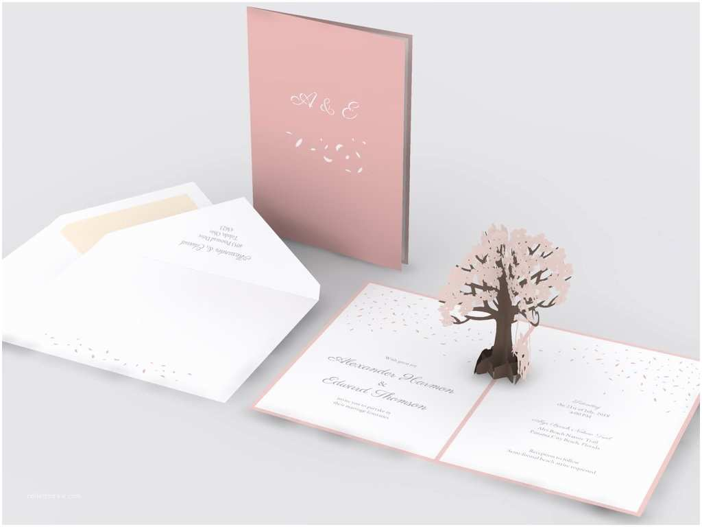 Love Pop Wedding Invitations Dogwood Tree with Swing Wedding Invitation Lovepop