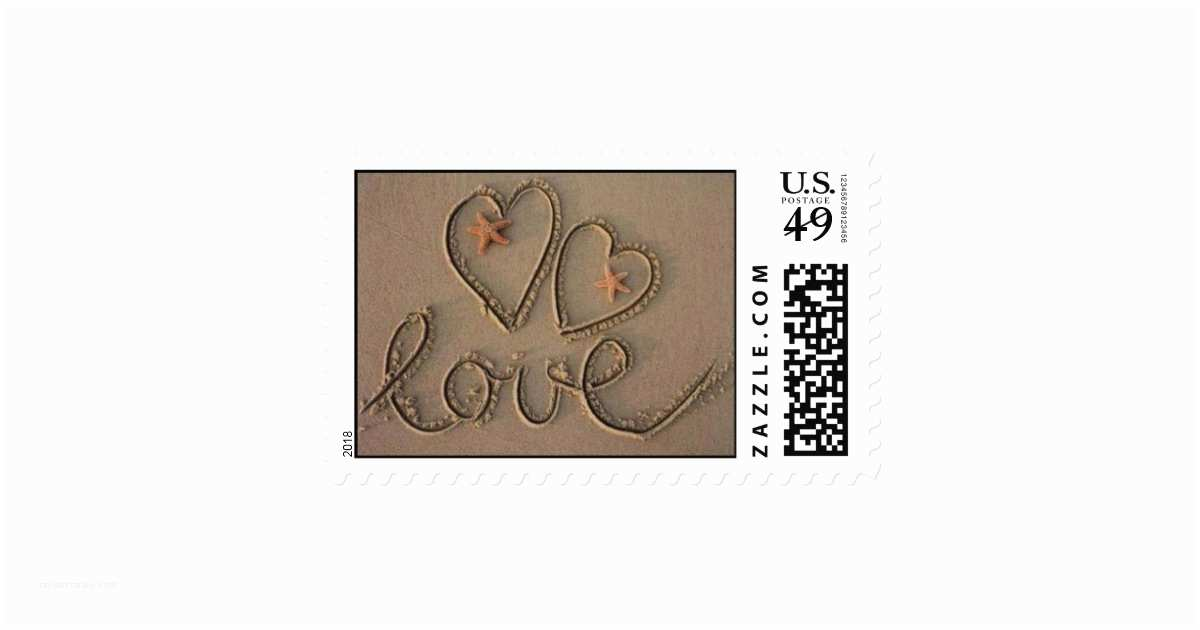 Love Stamps for Wedding Invitations Love Heart Beach Wedding Invitation Stamp