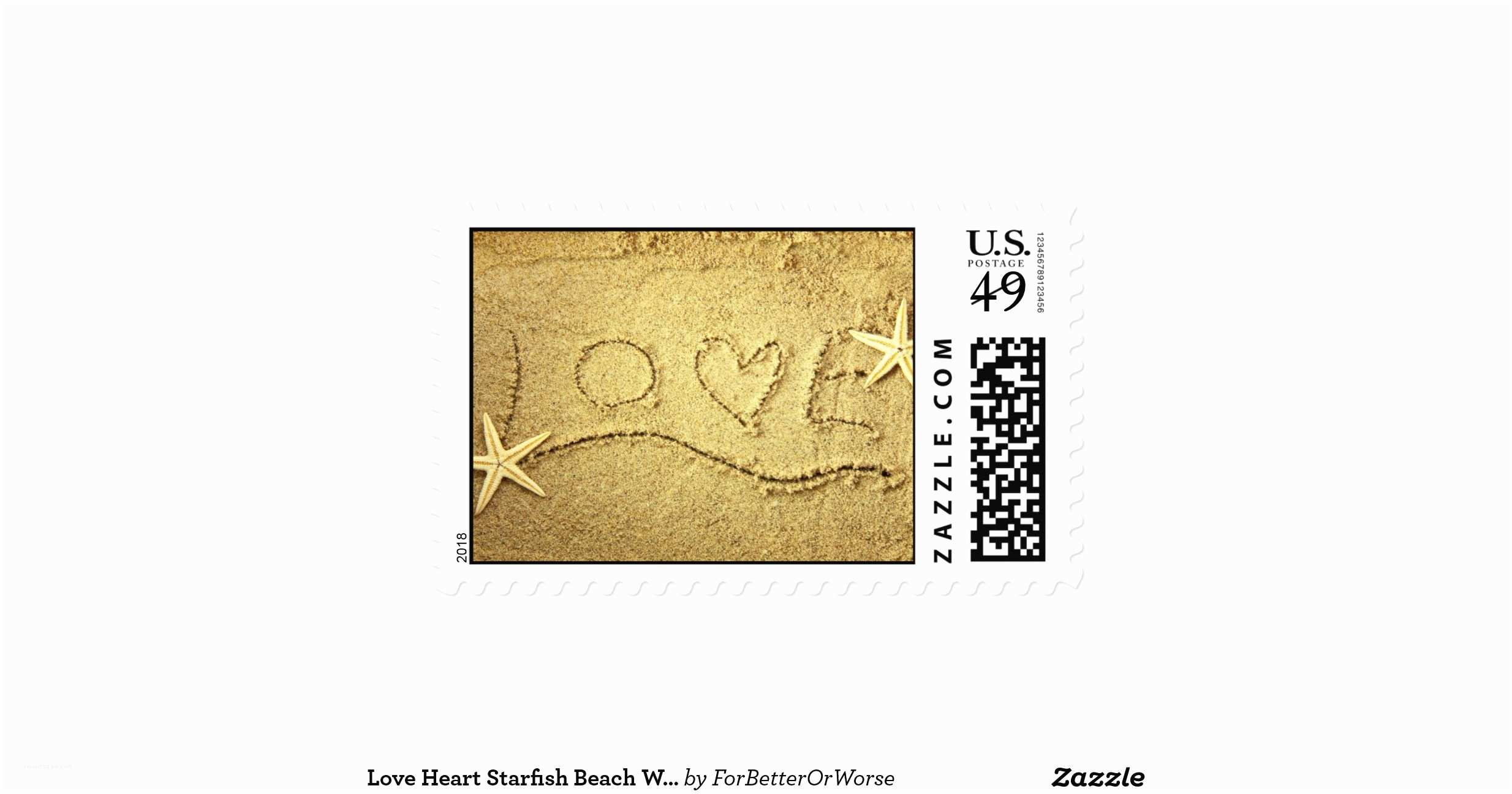 Love Stamps for Wedding Invitations Love Heart Starfish Beach Wedding Invitation Stamp