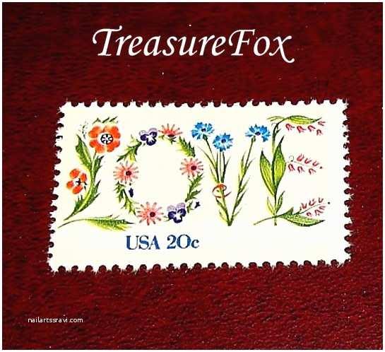 Love Stamps for Wedding Invitations Unused Vintage Postage Stamps 20 Cent Floral Love Stamp