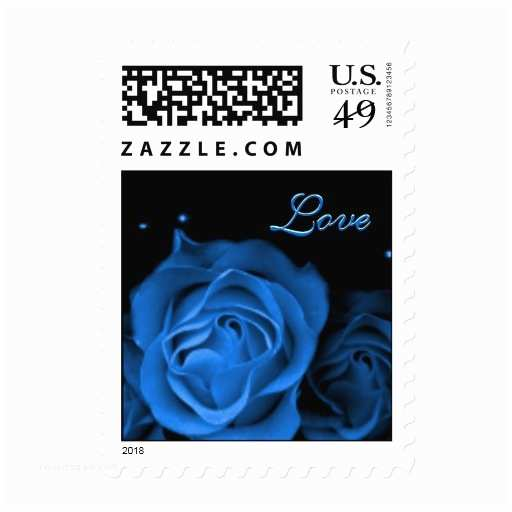 Love Stamps for Wedding Invitations Wedding Invitation Blue Rose Love Stamps