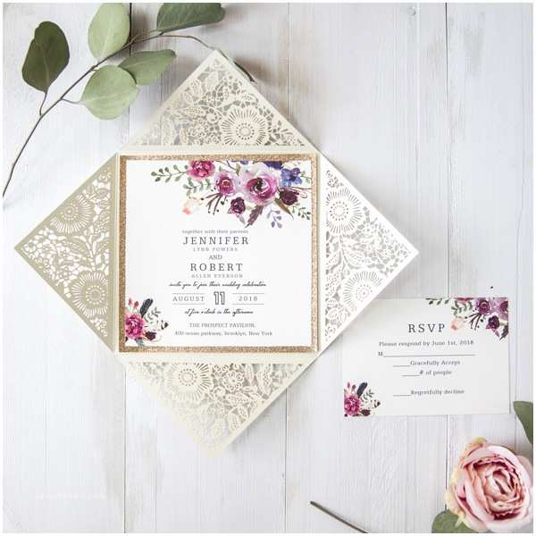 Low Price Wedding Invitation Cards Bohemian Floral Glittery Laser Cut Wedding Invitation