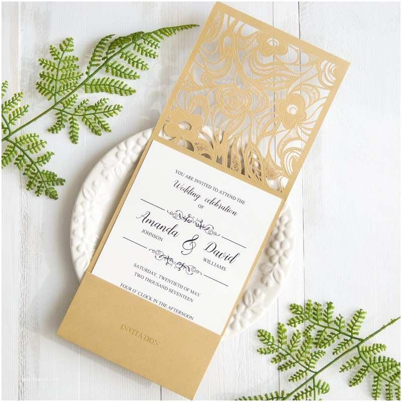 Low Price Wedding Invitation Cards Gold Laser Cut Pocket Wedding Invitations with Matching