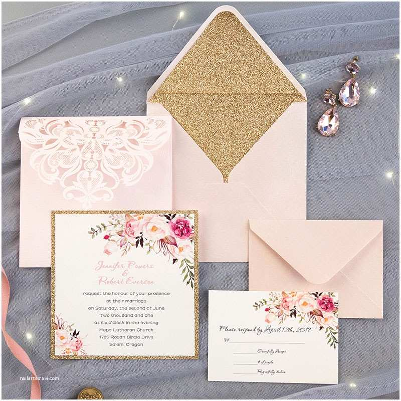 Low Price Wedding Invitation Cards Romantic Blush Pink Spring Flower Glittery Laser Cut