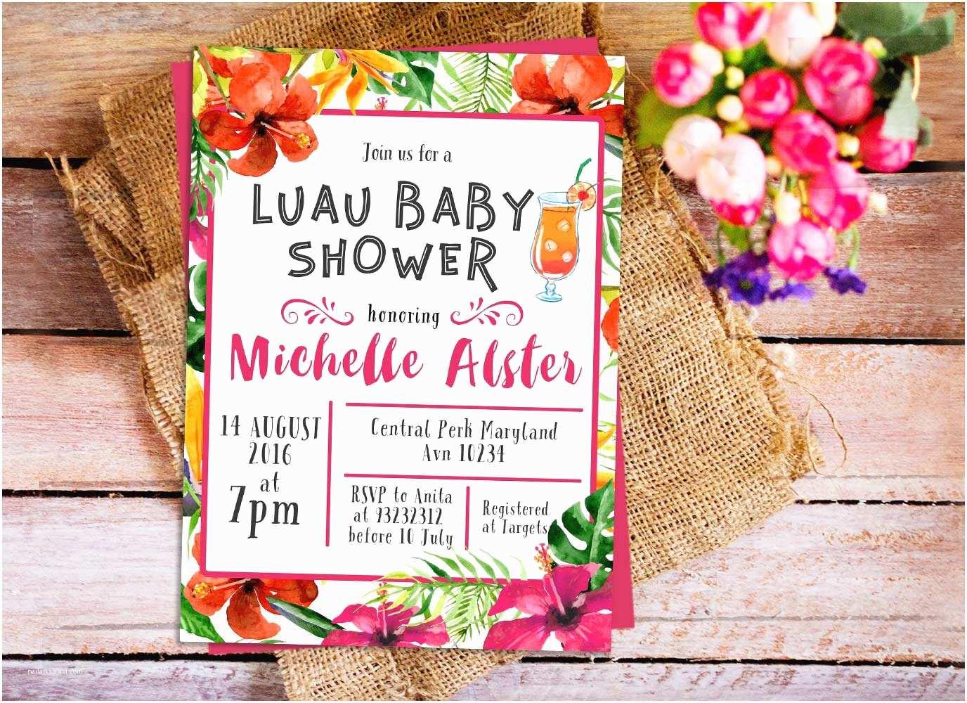 Luau Baby Shower Invitations Hawaiian Luau Baby Shower Invitation Hawaiian Tropical