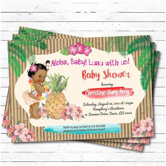 Luau Baby Shower Invitations Luau Baby Girl Shower Invitation Hawaiian Vintage African