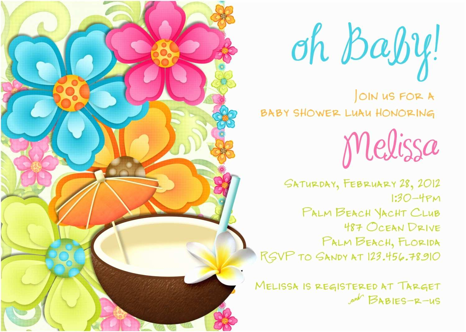 Luau Baby Shower Invitations Luau Baby Shower Invitation Tropical Hawaiian Hula Party